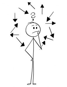 Cartoon stick man drawing conceptual illustration of man or businessman deciding or choosing right direction. Directional arrows and question mark around him. Business concept of career decision and choices.